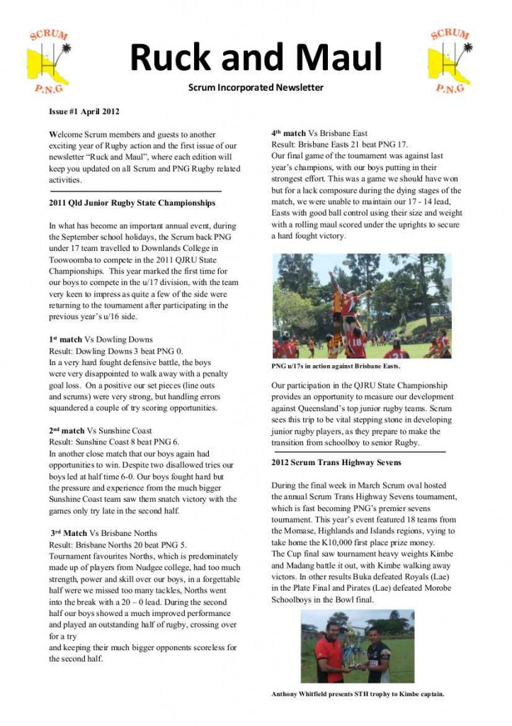 Ruck and Maul Newsletter Issue #1 Page#1