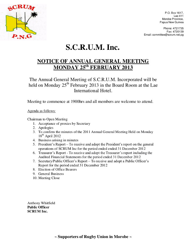 Scrum inc 2013 agm notice agenda scrum papua new guinea gallery pronofoot35fo Images
