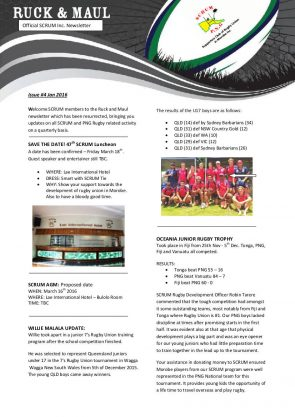 Ruck and Maul Newsletter Issue #4